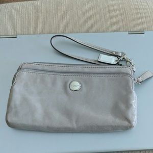Coach silky wristlet with 3 pockets